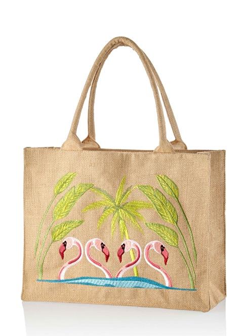 The Mia Plaj Çantası 42 x 36 Cm Flamingo Renkli
